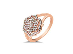 Diamond Cluster Flower Ring in 18k Rose Gold, Pave Set, by Leah Van Meyer