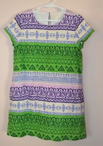 Crewcuts Girls 7 Linen Blend Green Blue & Purple Batik Print Dress