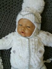 Hand made baby girl jacket and hat .0/3month white grey flower