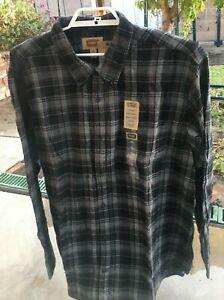 New Mens Flannel Shirt Long Sleeve Gray & Black Plaid 2XL Or 2XLTall