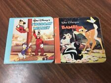 "1986 Disney Book TUGBOAT MICKEY Bambi mini hard page book, about 3.5"" wide B28"
