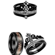 HIS TUNGSTEN CAMO AND HER CZ CROWN BLACK STAINLESS STEEL BRIDAL WEDDING RING SET