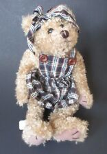 "g 9"" scruffy TEDDY BEAR in blue plaid dress head tie country simple home decor"