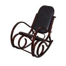 Sedia a dondolo in legno struttura colore noce cuscino nero in pelle rivestita