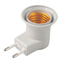 1x E27 LED Light Male socket to EU Type Plug Adapter Converter for Bulb Lamps UK