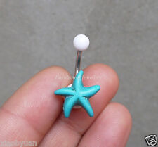 2pcsTurquoise Starfish belly button ring Sea star Navel Piercing Body jewelry