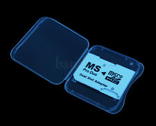 Dual slot Micro SD SDHC TF to Memory Stick MS Pro Duo Adapter for PSP + Case