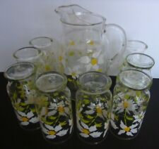 Vintage Clear Glass Tea Water Pitcher w/Ice Lip&8 Glasses Yellow&White Flowers