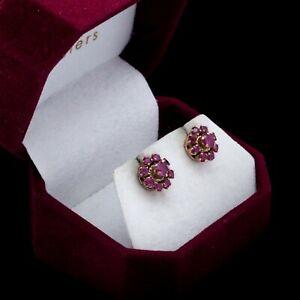 Antique Vintage Art Nouveau 14k Rose Gold Ruby Princess Harem Cluster Earrings