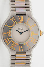 Estate $3000 Cartier 18k Gold SS Ladies Watch & BOX RARE