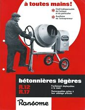 Equipment Brochure - Ransome R12 R17 Betonniere Cement Mixer FRENCH lang (E4472)