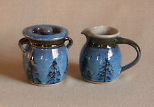 potterybydave -  Cream and Sugar Set in Blue  w/ Green Pine Trees Design