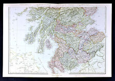 1883 Weller Map - Scotland - Edinburgh Glasgow Dumfries Perth Berwick Ayr - UK
