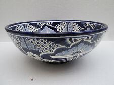 "15"" ROUND TALAVERA SINK vessel mexican bathroom handmade ceramic folk art"