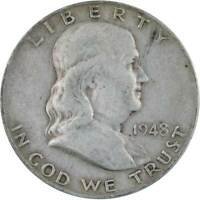 1948 D Franklin Half Dollar AG About Good 90% Silver 50c US Coin Collectible
