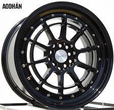 AODHAN AH04 17X9 5X100/114.3 ET35 FULL BLACK FITS WRX CELICA CIVIC RSX COROLLA