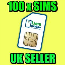 100 X Lyca Mobile Pay As You Go 4G Sim Cards UK New Bulk Wholesale Joblot
