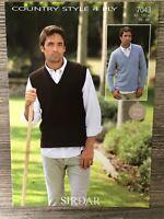"""Sirdar Knitting Pattern: Mens Sweater & Slipover, 4ply, 38-48"""", 7043"""