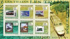 Trains on stamps (USA France India) m/s Guinea 2009 Mi 7009-14 MNH #GU0970a