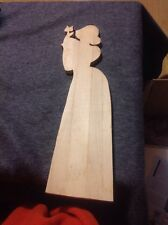 Unfinished Wooden Lady Holding A Tulip