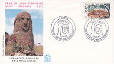 Enveloppe maximum 1er jour FDC n°1482 1986 Site Archéologique de Filitosa Corse