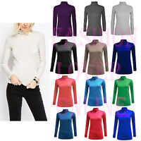 WOMENS LONG SLEEVE TURTLE NECK TOP LADIES ROLL NECK  POLO NECK JUMPER TOPS  8-26