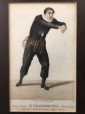 "French Theater Print 1821 Mr. Grandmesnil 14.5""x 12"" Frame 7.5""x 4.5"" Viewable"