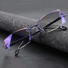 Men Women Rimless Reading Glasses Magnification Bifocal Far Near Anti Blue Light