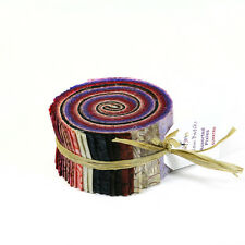 RJR Malam Batik Sumatra Red Black Purple Assorted Pixie Strips Jelly Roll Fabric