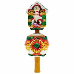 """Christopher Radko  Claus On The Clock  Glass   Tree Topper 13"""" 1020111"""
