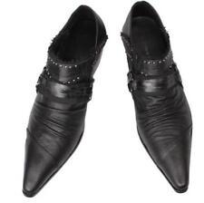 Chic Mens Retro Cowboy Cuban Heel Pointy Toe Black Leather SHoes Rivet Brogues