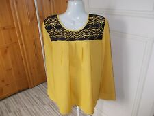 UNBRANDED YELLOW BLACK LACE YOKE SMOCK STYLE TOP SIZE 18 [2500007001034]