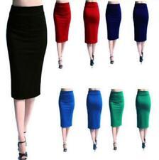 Womens Ladies Stretch Bodycon Midi Office High Waist Pencil Plus Size Skirt JA