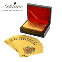 24K Gold Foil Plated Poker Playing Card Leisure Game Poker Cards With Wooden Box