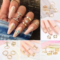 Womens Girls Boho Gold Stack Plain Above Knuckle Ring Midi Finger Rings Gifts