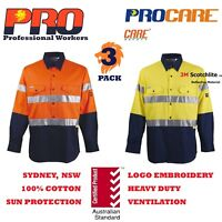 3 pack Hi Vis Work Shirt vented cotton drill 3M CR reflective Tape long sleeve