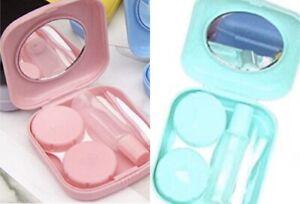 2 Pack Cute Mini Contact Lens Box Case Solution Bottle Mirror Tweezers Remover