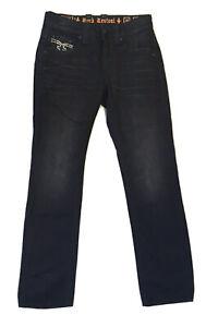 Rock Revival Dan Straight Jeans Size 30 Black Denim Mens