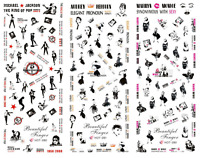 Nail Art Stickers Transfers Decals HOT King Of Pop Audrey Marilyn 280-282