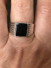 Mens 925 Sterling Silver Onyx Ring Size V