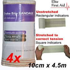 4 x Premium Snake Bite Bandage with compression indicator. 10cm x 4.5m