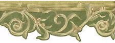 Victorian Green Metallic Gold Scroll Leaf Vine Berry Bamboo Wallpaper Border