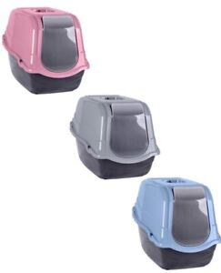 Pet Toilet Cat Litter Tray Carry Handle Easy Clean Portable Flap Green Pink Grey