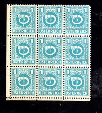 AUSTRIA #4N1     1945 1g A.M.G   MINT  VF LH  O.G BLOCK OF 9  f