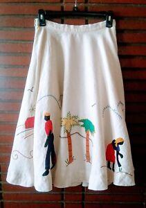 Women's Vintage Handmade Applique Stitch Jamaican Tropical Linen Skirt, 4 Small