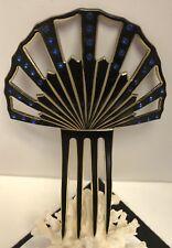 """Vintage NOUVEAU TORTOISE CELLULOID MANTILLA FAN HAIR COMB-5.75""""-Blue Rhinestones"""