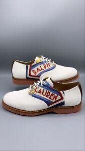Polo Ralph Lauren Rhett Saddle Leather Printed Oxford White Suede Sz 9.5D