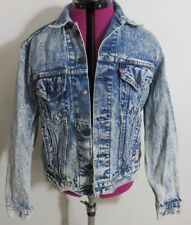 Levis Men's Size 44 Blue Jean Denim Trucker Jacket Stone Washed Vintage Usa Made