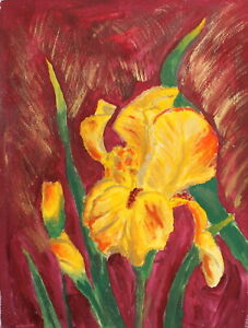 GERMAN EXPRESSIONIST GOUACHE PAINTING FLOWERS SIGNED NOLDE