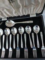 Royal ELKINGTON Westminster Art Nouveau Cutlery Set Cased Quality Design Cased